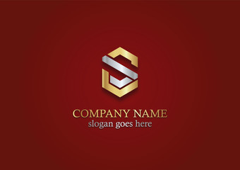 gold shape polygon letter s company logo
