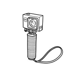 Action Camera Doodle Small Compact Camera, a hand drawn vector doodle illustration of an action camera recording in 4k resolution.