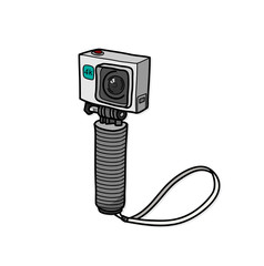 Travel Action Camera Small Compact Camera, a hand drawn vector doodle illustration of an action camera recording in 4k resolution.