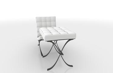 Weisser Stuhl mit Hocker-20