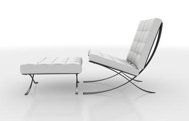 Weisser Stuhl mit Hocker-21
