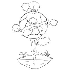 Hand draw tree world for earth day