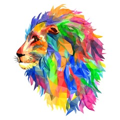 Lion's head, king of beasts, mosaic. Trendy style geometric on white background. Colorful vector. geometric rumpled triangular