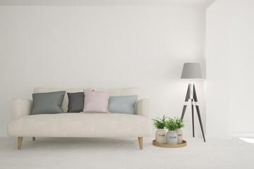 White modern room with sofa. Scandinavian interior design. 3D illustration