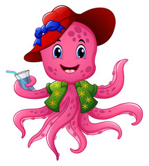 Cartoon octopus in summer hat