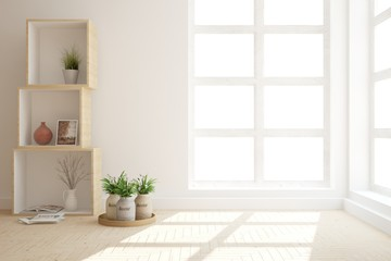 White modern room with shelf. Scandinavian interior design. 3D illustration