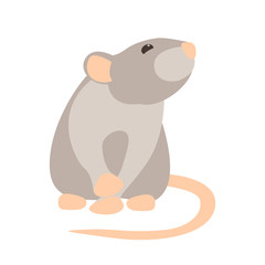 Rat cartoon vector illustration style Flat side