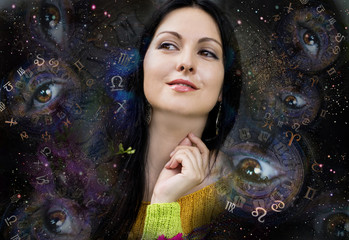 Woman and zodiac signs, astrologer