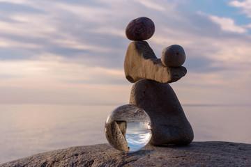 Crystal ball at stones