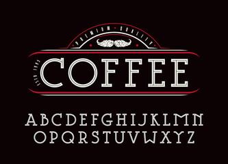 Decorative slab serif font with an internal contour