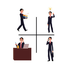 Businessman, manager working at workplace, having idea, bringing documents, talking by phone, cartoon vector illustration isolated on white background. Businessman, employee in business situations