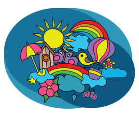 Summer weather design set. Coloring book page template.  Outline doodle vector illustration.