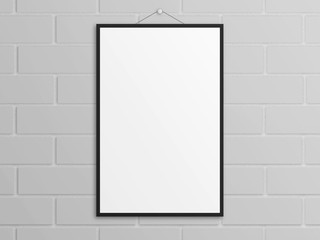 Empty 3D illustration tabloid poster mockup with black frame on wall.