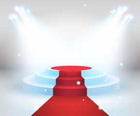 Red carpet with round podium. Pedestal or platform, illuminated by spotlights. Stage with scenic lights. EPS 10 vector illustration