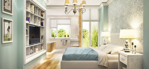 Modern bathroom in bedroom