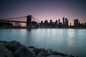 Manhattan view during twilight from dumbo location