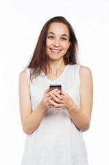 Pretty woman using a smartphone