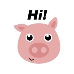Cute pig illustration vector