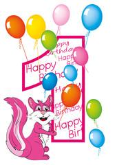 buon compleanno bambina numero uno con scoiattolo