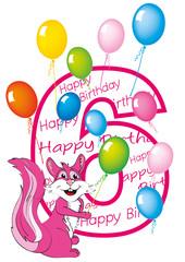 buon compleanno bambina numero sei con scoiattolo