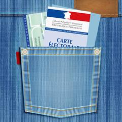 élection - carte électorale - poche de jeans - démocratie - jeune