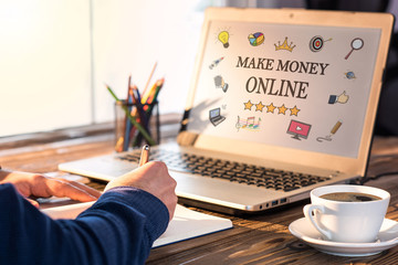 Make Money Online Concept On Laptop Monitor