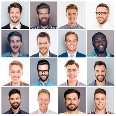 Collage picture of different multiethnic cheerful adult man expressing happiness and showing beautiful white smiles