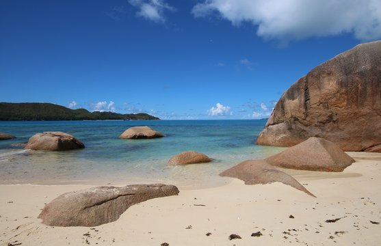 Cote D´Or Beach at Anse Volbert is situated in the north of Praslin Island, Seychelles, Indian Ocean, Africa
