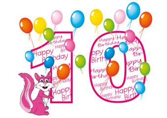 buon compleanno bambina numero dieci con scoiattolo