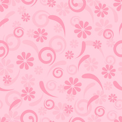 Pink seamless background of flowers and swirls