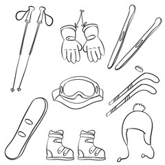 Doodle of sport equipment style