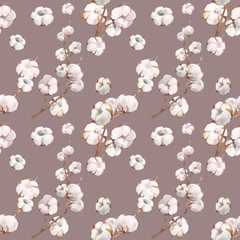 Watercolor cotton branches seamless pattern. Hand painted natural wallpaper design with soft flowers on pastel tint background. Botanical texture