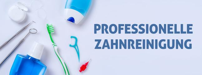 Zahnpflegeprodukte auf einem hellen Hintergrund - Professionelle Zahnreinigung