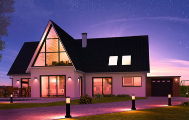 Belle maison contemporaine avec éclairage de nuit