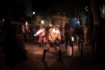 Demons & fire traditional festival in Esporles. Mallorca, Spain