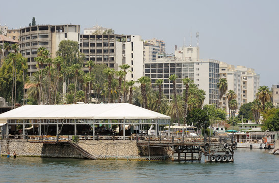 Tiberias, a town on the slopes of the mountain near the Lake Kinneret
