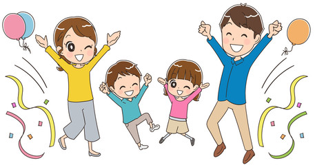 お祝いする家族のイラスト