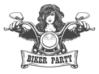 Biker Party Handdrawn Illustration
