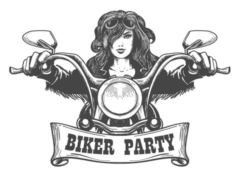 Biker Party Handdrawn Illustration