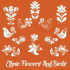 Set of vector floral elements and birds. Hand drawn design elements for cards and invitations.