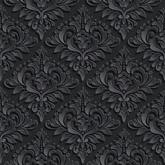 Wektor ciemny adamaszek bezszwowe tło wzór. Eleganckie i luksusowe tekstury tapety, tła i wypełnienia strony. Elementy 3D z cieniami i pasemkami. Wycinanka.