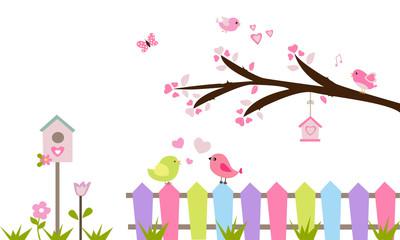 Rama de árbol, valla, pájaros y flores.