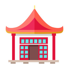 Oriental Type of Building with Triangular Roof