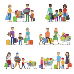 Family out on Shopping Set. Children and Parents