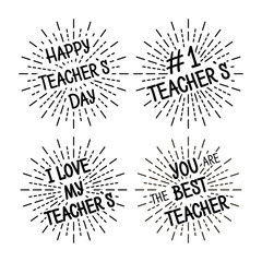 Happy Teacher's Day different variants of the inscription