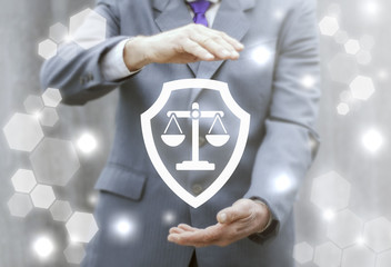 Shield scales justice security business computer web concept. Judicial balance icon safety judge internet court tribunal law protection technology.