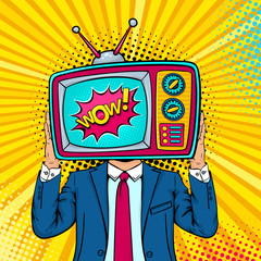 Wow face. A man in a suit holding retro tv set with Wow speech bubble instead of his head. Vector colorful background in retro comic pop art style.