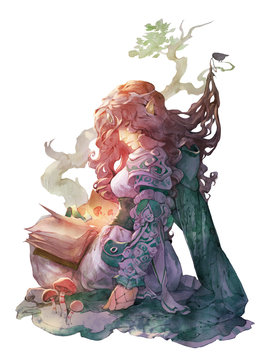 Fantasy illustration of an elven beautiful woman sitting with a magic book