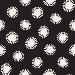 Vector seamless pattern. Abstract background with floral brush strokes. Monochrome hand drawn texture