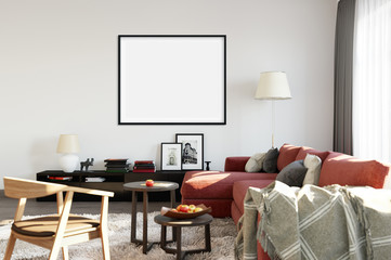 mock up posters in living room interior. Interior scandinavian style. 3d rendering, 3d illustration